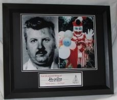 JOHN WAYNE GACY SIGNED MATTED AND FRAMED PERSONAL BOOK MARKSERIEL KILLER CLOWN